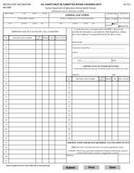 "Form KS-CV1 ""Brucellosis Vaccination Record"" - Kansas"