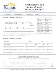 """""""Application for Kansas Swine Feedlot License"""" - Kansas"""