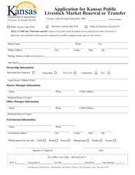 """Application for Kansas Public Livestock Market Renewal or Transfer"" - Kansas"