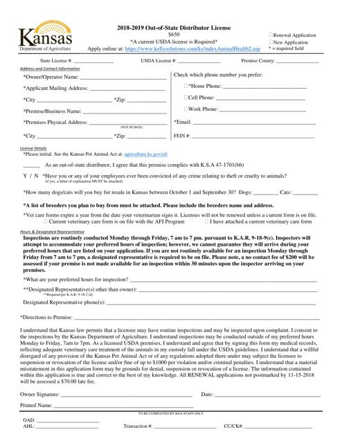 2019 Out-Of-State Distributor License - Kansas Download Pdf