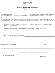 "Form 7A-2 ""Certificate of Vote Procedure - Merging Credit Union"" - Kansas"