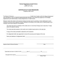 "Form 7A-2 ""Certificate of Vote Procedure - Merging Credit Union"" - Kansas"