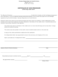 "Form 7A-1 ""Certificate of Vote Procedure - Continuing Credit Union"" - Kansas"