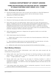 """Forms and Procedures for Purchase and Sell Agreement of Kansas Chartered Credit Unions"" - Kansas"
