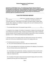 """Form 2 """"Plan for Proposed Merger"""" - Kansas"""