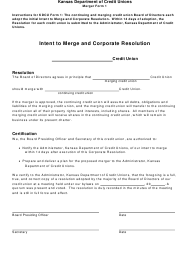 "Form 1 ""Intent to Merge and Corporate Resolution"" - Kansas"