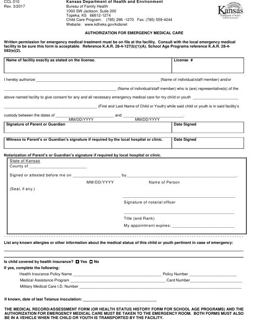 Form CCL010  Printable Pdf