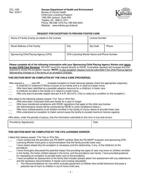 Form CCL.039  Printable Pdf