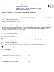 "Form CCL401 ""Orientation Checklist for Child Care Center/Preschool"" - Kansas"