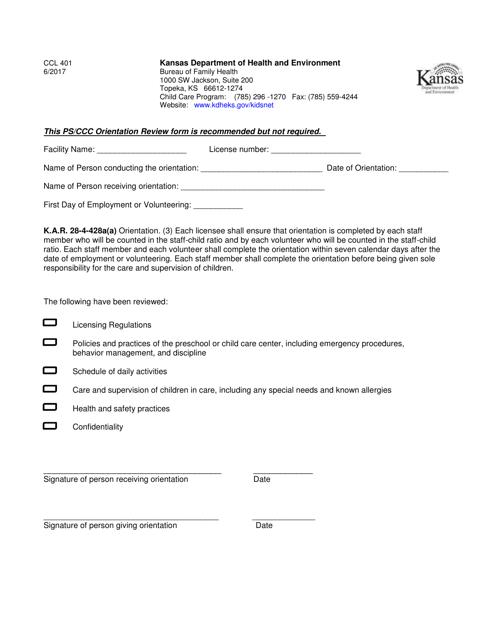 Form CCL401  Printable Pdf
