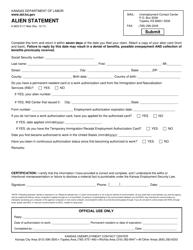 """Form K-BEN3117 """"Alien Statement"""" - Kansas"""