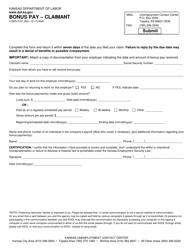 "Form K-BEN3121 ""Bonus Pay - Claimant"" - Kansas"