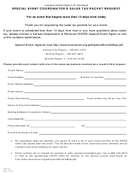 Form CTE-51 Special Event Coordinator's Sales Tax Packet Request - Kansas