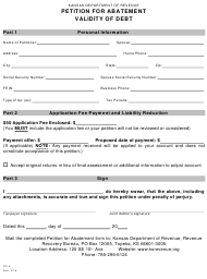 "Form CE-4 ""Petition for Abatement Validity of Debt"" - Kansas"