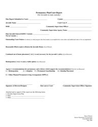 "Form KDOC-0085 ""Permanency Plan/Court Report (For Juvenile in State Custody)"" - Kansas"