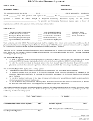 """Form KDOC-0086 """"Kdoc Services Placement Agreement"""" - Kansas"""