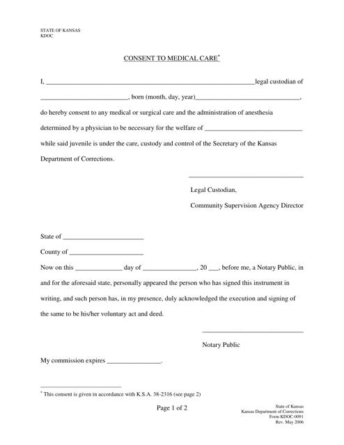 Form KDOC-0091  Printable Pdf