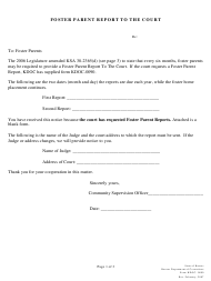"""Form KDOC-0090 """"Foster Parent Report to the Court"""" - Kansas"""