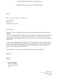 "Form KDOC-0112 ""Standarized Placement Notification"" - Kansas"
