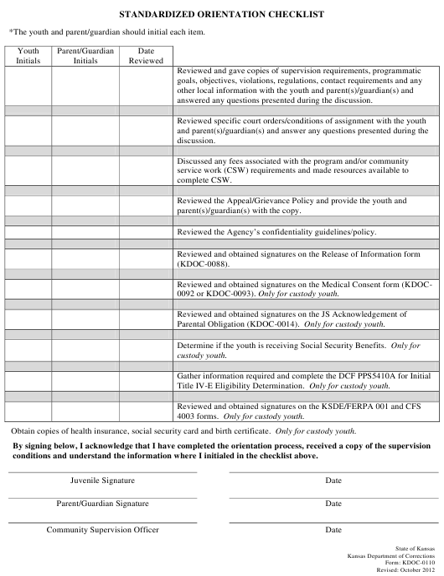 Form KDOC-0110  Printable Pdf