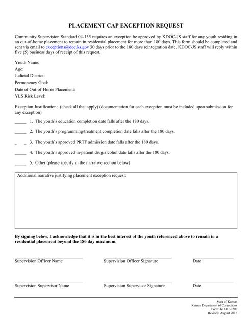 Form KDOC-0200  Printable Pdf