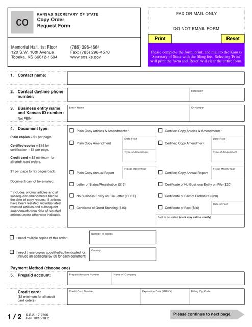 Form CO  Printable Pdf