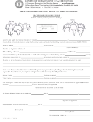 "Form KYSV-102 ""Application for Registration - Brand and Marks of Livestock"" - Kentucky"