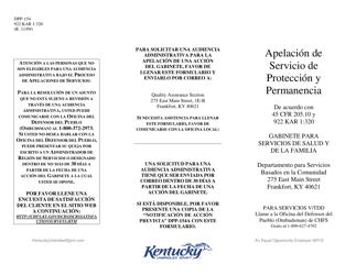 """Formulario DPP-154 """"Apelacion De Servicio De Proteccion Y Permanencia"""" - Kentucky (Spanish)"""