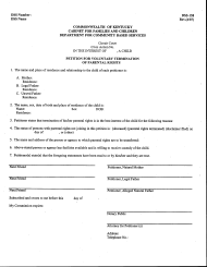 "Form DSS-158 ""Petition for Voluntary Termination of Parental Rights"" - Kentucky"