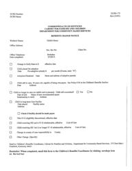 """Form DCBS-173 """"Benefits Change Notice"""" - Kentucky"""