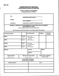 "Form DSS-1291 ""Family Profile Coversheet"" - Kentucky"