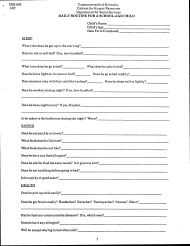 "Form DSS-893 ""Daily Routine for a School-Age Child"" - Kentucky"