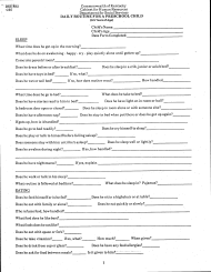 """Form DSS-892 """"Daily Routine for a Preschool Child (0-5 Years of Age)"""" - Kentucky"""