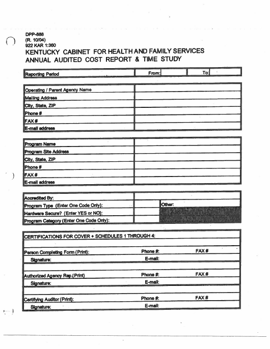 Form Dpp 888 Download Printable Pdf Annual Audited Cost