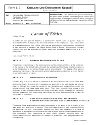 "Form L-2 ""Canon of Ethics"" - Kentucky"