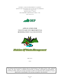 "Form DEP5037 ""Application for Voluntary Environmental Remediation Tax Incentive"" - Kentucky"