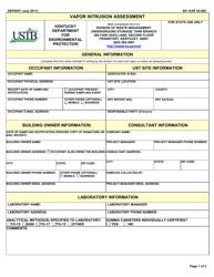 """Form DEP0057 """"Vapor Intrusion Assessment"""" - Kentucky"""