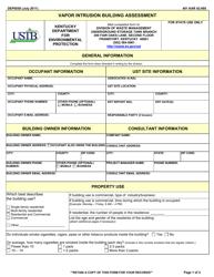 """Form DEP0058 """"Vapor Intrusion Building Assessment"""" - Kentucky"""
