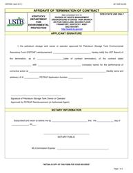 "Form DEP0061 ""Affidavit of Termination of Contract"" - Kentucky"