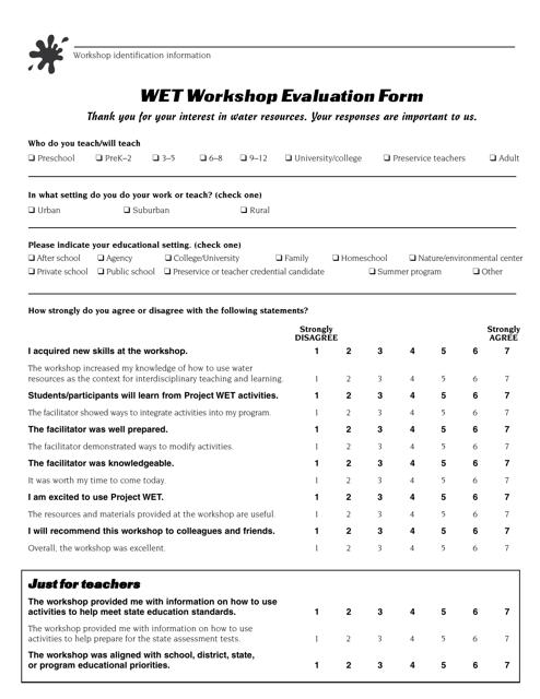 """""""Wet Workshop Evaluation Form"""" - Virginia Download Pdf"""