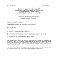 "Form DEP7113 ""Certificate of Registration and Reimbursement Eligibility"" - Kentucky"
