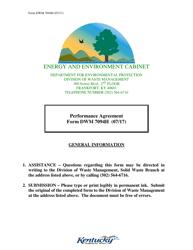 Form DWM 7094H Performance Agreement - Kentucky