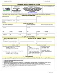 "Form DEP4067 ""Over-excavation Report Form"" - Kentucky"