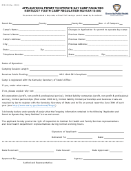 "Form DFS-340 ""Application & Permit to Operate Day Camp Facilities"" - Kentucky"