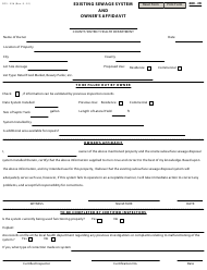 "Form DFS-326 ""Existing Sewage System and Owner's Affidavit"" - Kentucky"