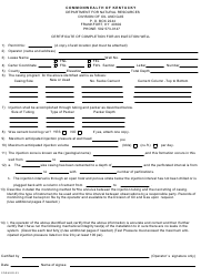 """Form ED-23 """"Certification of Completion for an Injection Well"""" - Kentucky"""