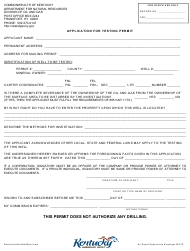 """""""Application for Testing Permit"""" - Kentucky"""