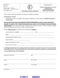 "Form AOC-RU-005 ""Licensing Agency Request"" - Kentucky"