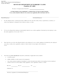 "Form SVE ""Safety Violation Alleged by Defendant/Employer"" - Kentucky"