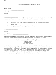 """""""Residential Home Attestation Form"""" - Louisiana"""